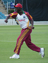 Darren Sammy at the Prime Ministers XI cricket match in Canberra in 2010.