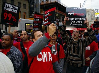 Communications Workers of America - Verizon members protesting at Occupy Wall Street in October 2011
