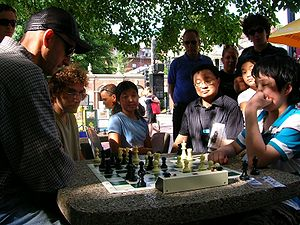 Harvard Square - Chess players in Harvard Square