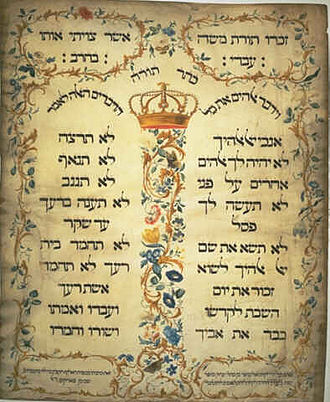 Ten Commandments - This 1768 parchment (612×502 mm) by Jekuthiel Sofer emulated the 1675 Ten Commandments at the Amsterdam Esnoga synagogue.