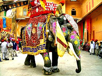 Caparison - A decorated Indian elephant carrying a howdah during a fair in Jaipur, India