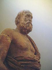 Statue of a philosopher, presumably Plato, in Delphi.