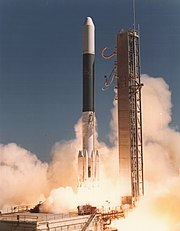 Delta 2914 launching IUE spacecraft