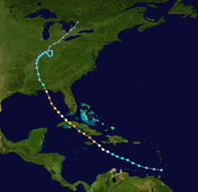 Map plotting the track and the intensity of the storm, according to the Saffir-Simpson scale Dennis 2005 track.png