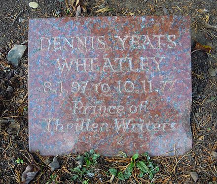 Wheatley's grave in Brookwood Cemetery Dennis Wheatley Grave Brookwood.jpg