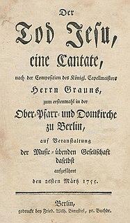 <i>Der Tod Jesu</i> Oratorio libretto by Karl Wilhelm Ramler