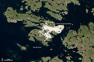 Diavik Diamond Mine - Diavik mine complex, 2013 image from Landsat 8