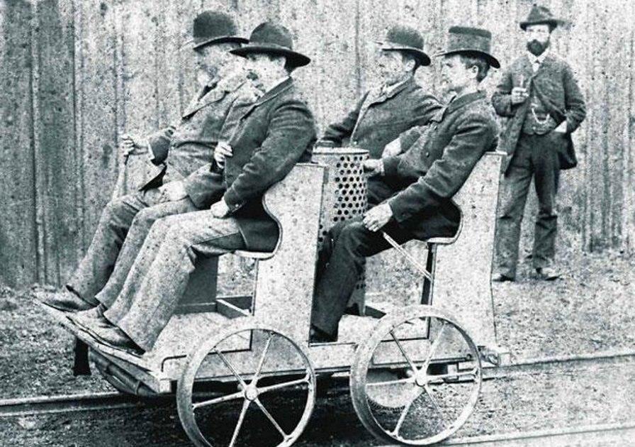 Die Daimler Motor-Draisine erstmals im Sommer 1887 zwischen Esslingen und Kirchheim-Teck erprobt