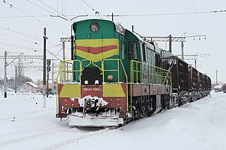 Diesel locomotive ChME3-5947 in Vinnitsa railway station, Ukraine, 2012.jpg