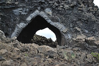 "Dimmuborgir - Kirkjan (""the Church""), lava tube structure at Dimmuborgir"