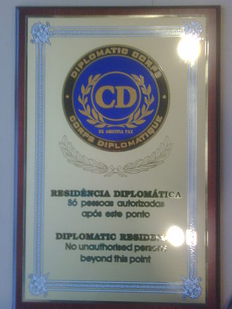 Diplomatic corps - Diplomatic corps plaque used on some embassies and diplomatic missions