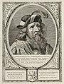 Dirk II, graaf van Holland, in een harnas. De omlijsting is versierd met het wapen van Holland. NL-HlmNHA 1477 53012895.JPG
