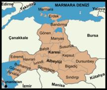 Provincia di Balıkesir-Suddivisione amministrativa-Districts of Balıkesir