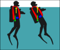 Diver with early jacket BCD stabilised at surface.png