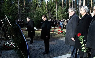 Katyn massacre - Russian President Dmitry Medvedev and Polish President Bronislaw Komorowski laying wreaths at the Katyn massacre memorial complex, 11 April 2011