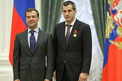 Dmitry Medvedev and Buwaisar Saytiev.jpg
