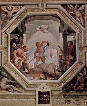 Domenico di Pace Beccafumi - The beheading of Spurius Cassius Viscellinus, fresco (1532–1535), Palazzo Pubblico, Siena.