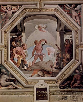 Spurius Cassius Viscellinus - The execution of Spurius Vecellinus by Domenico Beccafumi as depicted in a fresco in the Palazzo Pubblico.