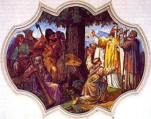 Bonifatius lässt die Donareiche fällen (Gemälde von 1737)