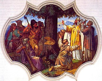 Büraburg - 1737 painting of St. Boniface overseeing the felling of Donar's Oak, located in the St. Martinskirche of Westenhofen in Schliersee