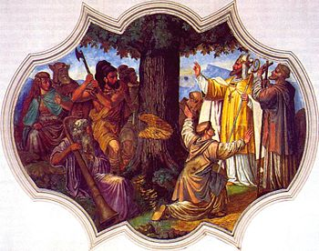 Boniface has the Donar oak felled (painting from 1737)