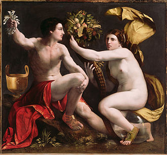 Allegory of Fortune -  Dosso Dossi, Allegory of Fortune showing the cornucopia depicted upright, as usual