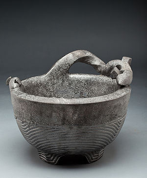 "James C. Watkins - Double-walled Caldron from the (""Fragility Series""), saggar fired, 20 in. high x 20 in. wide, photo by Jon Thompson."