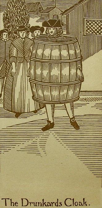 """Drunkard's cloak - 18th-century depiction of the """"drunkard's cloak"""""""