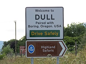 Dull, Perth and Kinross - Twinning sign at Dull