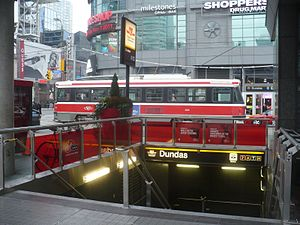 Dundas station (Toronto) - A 505 Dundas streetcar by the station entrance