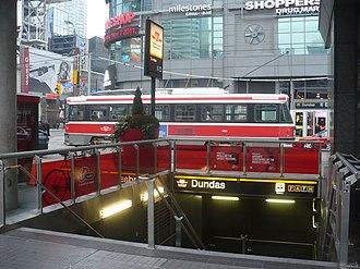 Dundas station (Toronto) - A 505 Dundas streetcar by the station entrance