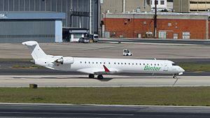 Binter Canarias - Bombardier CRJ900LR at Lisbon Portela Airport.