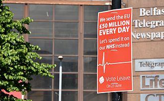 Post-truth politics - Image: EU referendum leave poster, Belfast, June 2016 geograph.org.uk 4990237