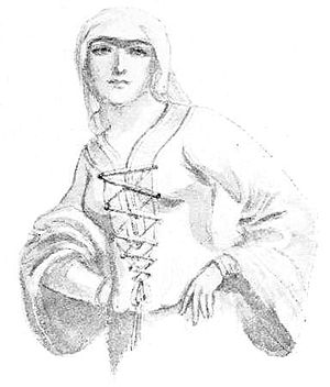 Early medieval European dress - Early Medieval woman - illustration by Percy Anderson for Costume Fanciful, Historical and Theatrical, 1906