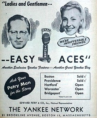 Easy Aces - The program in syndication on the Yankee Network in 1945.