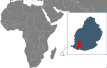 Map showing the location of Mauritius, and island in the Indian Ocean