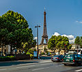 Eiffel Tower as seen from the Place de la Résistance, Paris August 2013.jpg