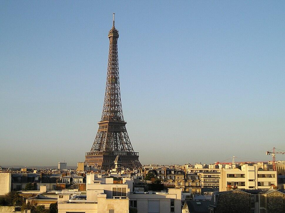 Eiffel Tower from the top of a building located rue de l'Université, Paris January 2005