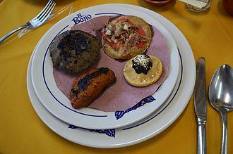 """Cuisine of Veracruz - Various """"antojitos"""" northern Veracruz style prepared at the El Bajío restaurant in Mexico City"""