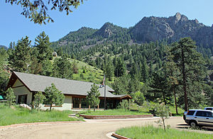 Eldorado Canyon State Park - The park's ranger station and visitors' center, with Shirttail Peak in the background.