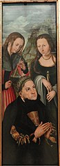 The Elector Frederic the Wise of Saxony (1463-1525) with the Saints Ursula (left) and Genevieve (right)