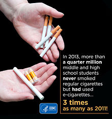 In 2013, at least a quarter million middle school and high school students who never smoked tobacco cigarettes had used e-cigarettes. This was three times as much as in 2011.