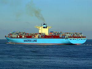 Eleonora Maersk pD 9321500, leaving Port of Rotterdam, Holland 25-Jan-2007.jpg