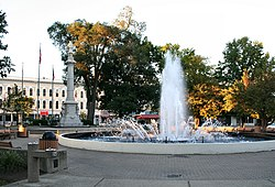 Ely Park fountain and Civil War memorial.