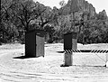 Emergency comfort station installed in overflow area, South Campground. ; ZION Museum and Archives Image ZION 9252 ; ZION 9252 (ad43cfb573634382a3a20d97458a07cf).jpg