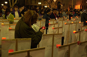República Cromañón nightclub fire - Relatives of the deceased in the fire light candles in a public protest against the perceived lack of control by the government.
