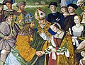 Enea Silvio Piccolomini presents emperor Frederick III with his bride-to-be Eleanora of Portugal. Siena Cathedral, Italy.jpg