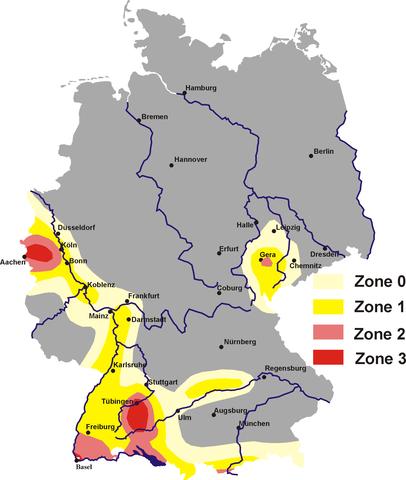Erdbebenzonen in Deutschland. CC-BY 2.0: Störfix