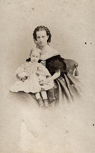 Archduchess Maria Isabella of Austria - The Countess of Trapani with her eldest daughter and cousin, Antonietta, circa 1853