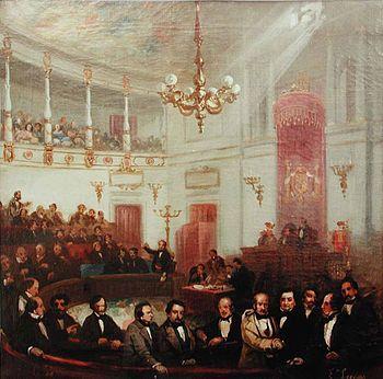 Escena congreso de los diputados siglo XIX Eugenio Lucas Vel%C3%A1zquez
